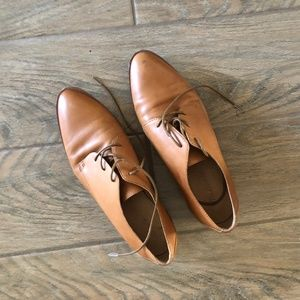 Madewell Brown Leather Lace-Up Loafers
